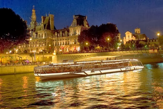 Cruise on the Seine River. Sunset Paris