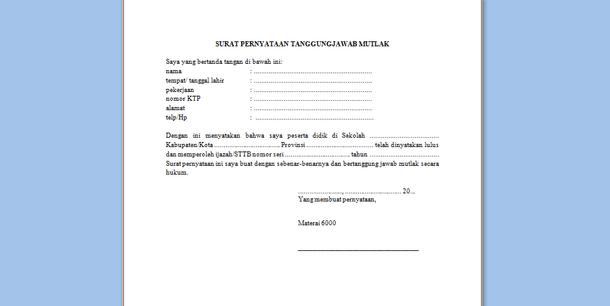 Format Surat Pernyataan Tanggung Jawab Mutlak Ijazah Sttb Unduh Dokumen
