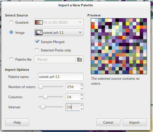 Import Palette of an image in Gimp.