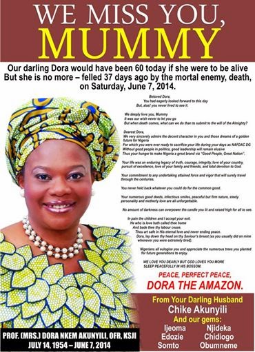 Burial Arrangements For Late Prof. Dora Akunyili Has Been Announced By Family