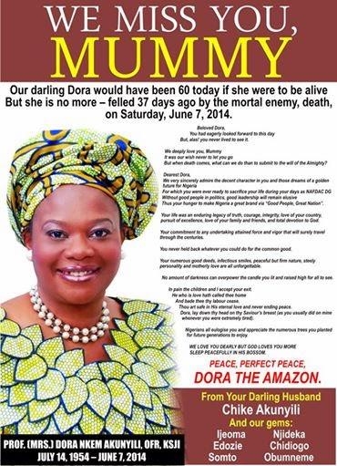 Late Prof. Nkem Dora Akunyili for Burial on August 28 at Agulu