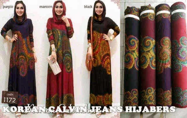 Material Calvin Jeans model hijaber (corak+warna seperti di sebelah kanan).  Fit to XL
