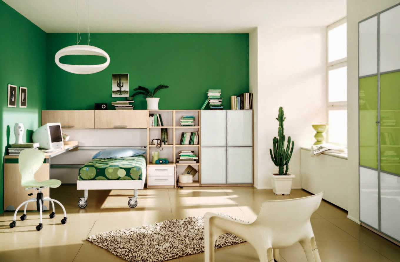 green bedroom home interior design ideas