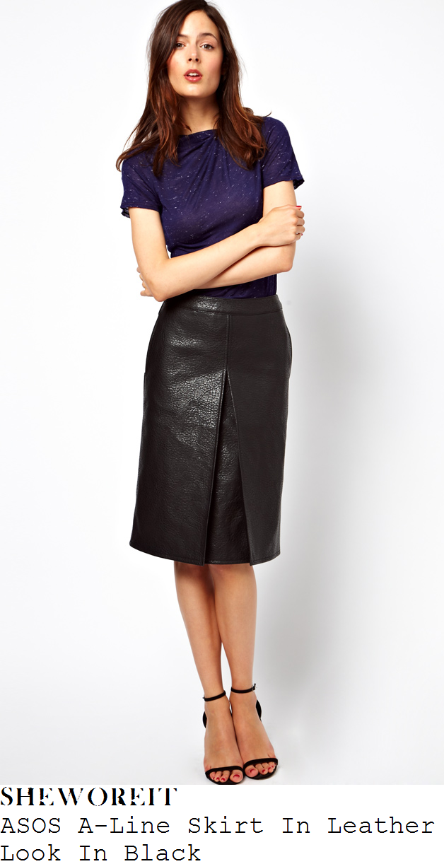 lauren-pope-black-leather-a-line-skirt-pleat-front