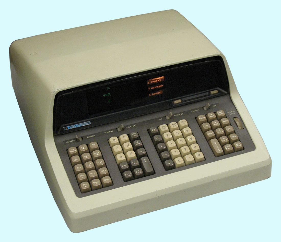 later he had a hewlett packard 9100a desktop electronic calculator