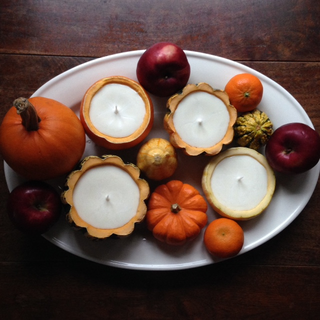 soy candles in gourds