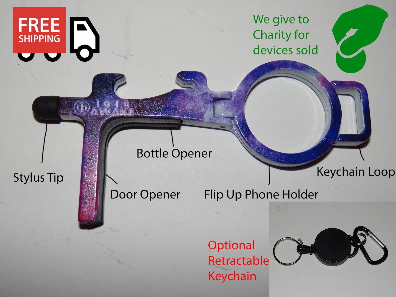 Corona Touchless Door Opener and Stylus - Galactic Design by 1618AWAKE