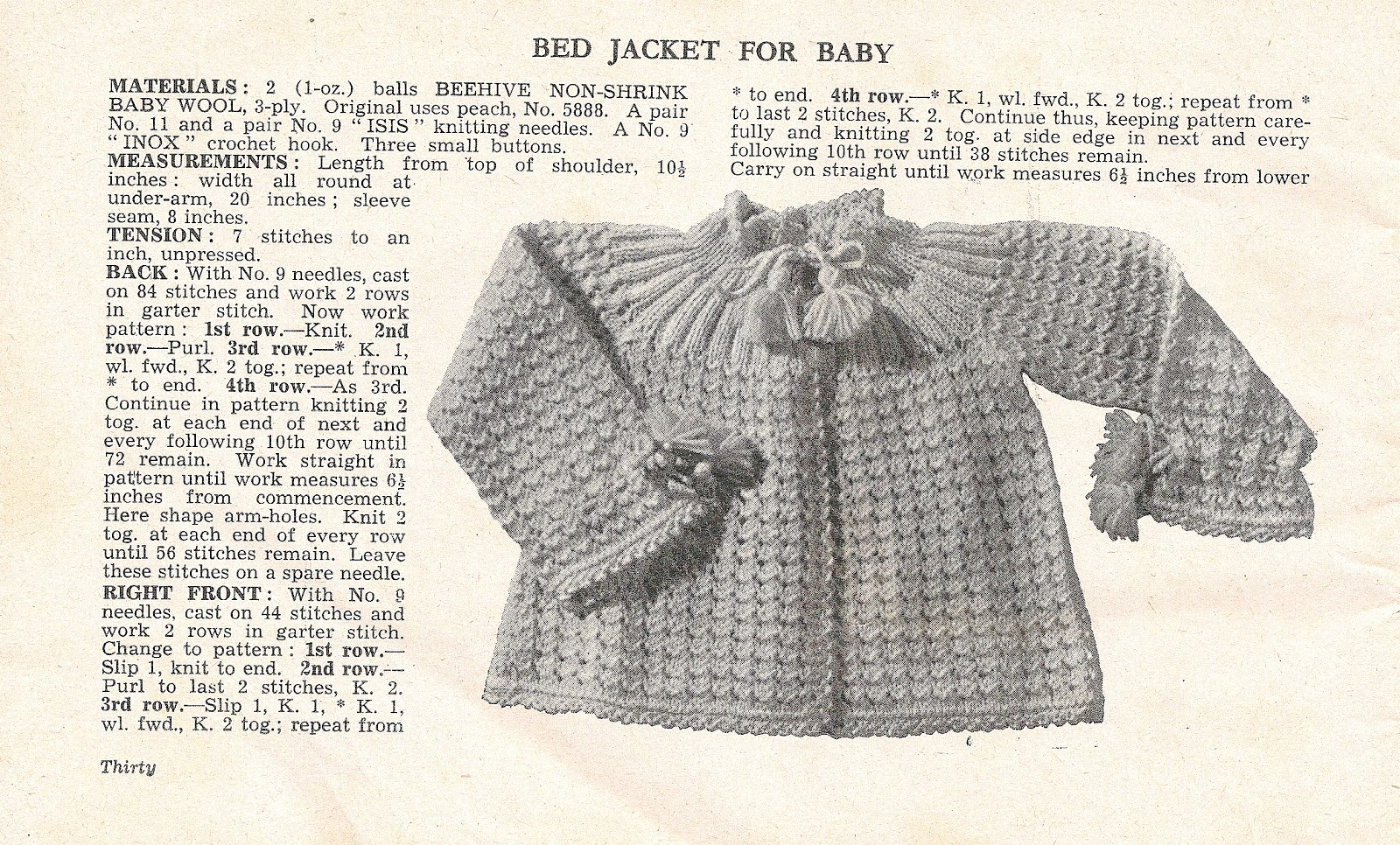 30 Designs A Collection of Vintage Knitted Bed Jacket Patterns