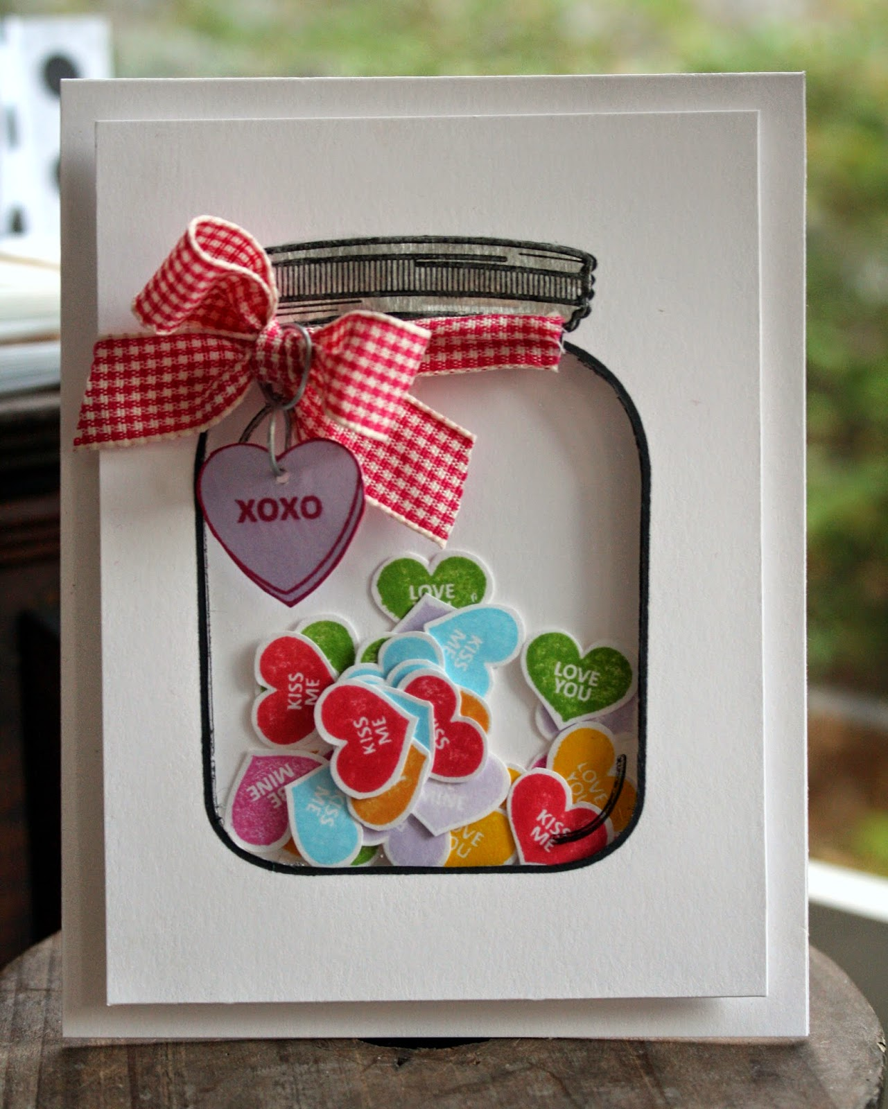 candy hearts shaker card
