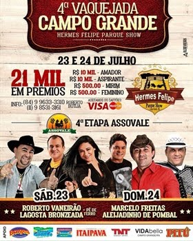 Dias 23 e 24 de Julho tem a Grande Vaquejada do Hermes Felipe Parque Show