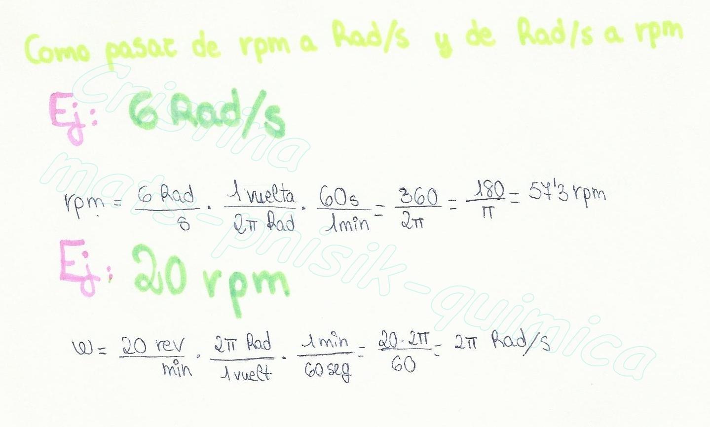 Rad S To Rpm >> FISIQUEA MATEMÁTICAS!!!: Como pasar de rpm a Rad / s y/o de Rad / s a rpm