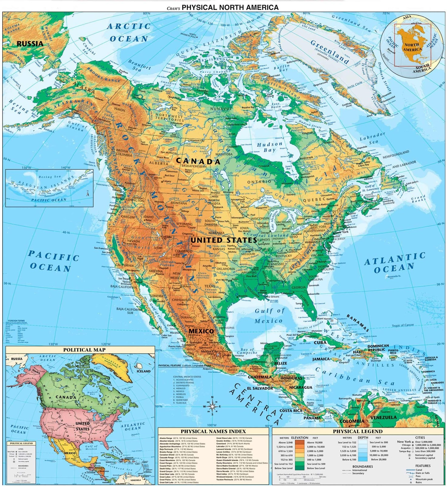 North America Physical Map Freeworldmapsnet Maps And Geography - Sur america map