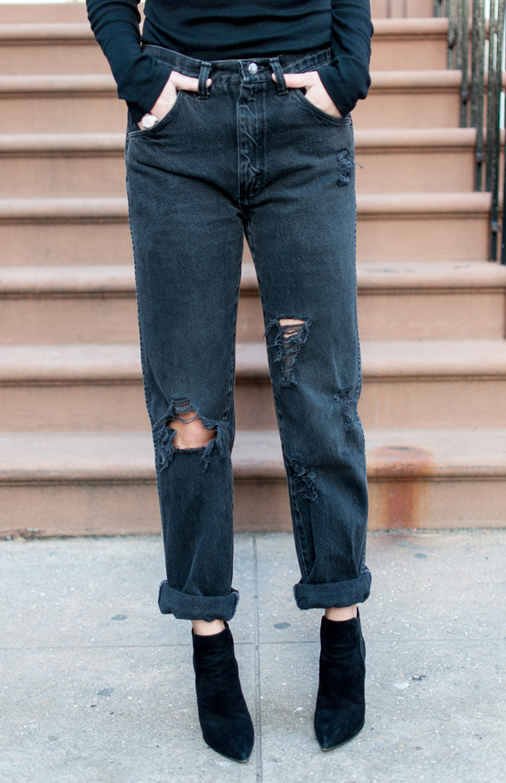 Fashion Over Reason, boyfriend mom jeans, turtleneck, Stuart Weitzman booties, West Village NYC, vintage Wrangler jeans