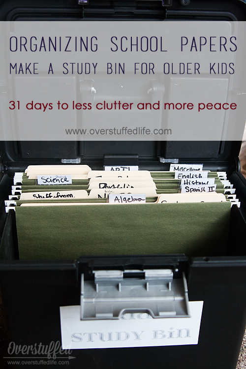 Use a file folder box to create a study bin for your older children. This way they are able to keep all of the study guides and important papers in once place and be more successful at school. Plus 6 other ideas for keeping your kids' school papers organized and your desk free of paper clutter!