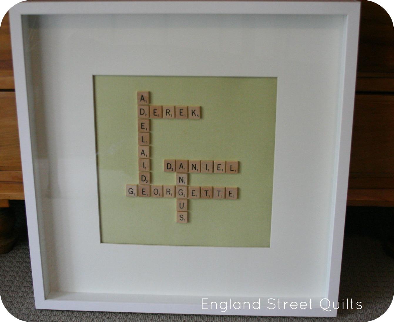Scrabble Names Wall Art England Street Quilts Pinspiration Scrabble Wall Art Tutorial