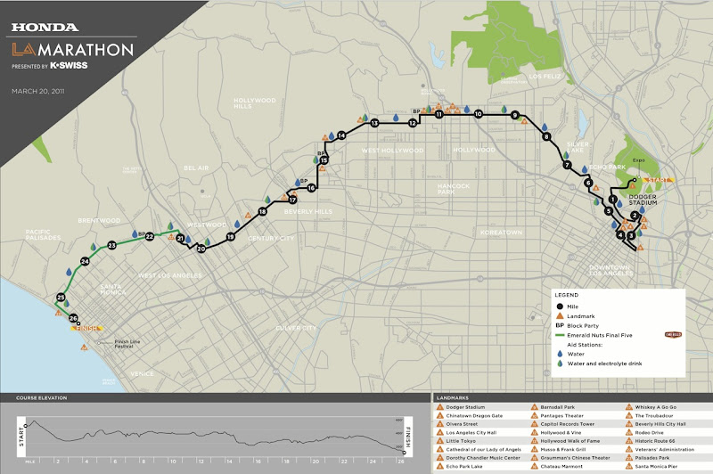 LA Marathon 2011 course map
