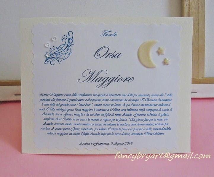 Matrimonio Tema Costellazioni : Fancybry art novita cartoncino segnatavolo per un