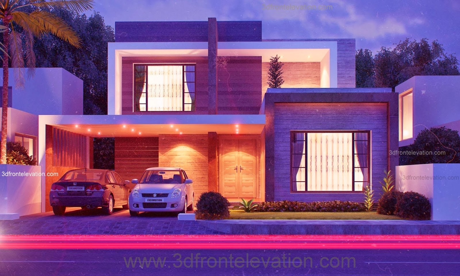 3d front 10 marla modern house plan for Latest house elevation