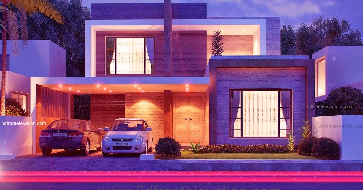 Front Elevation Designs In Karachi : D front elevation marla modern house plan