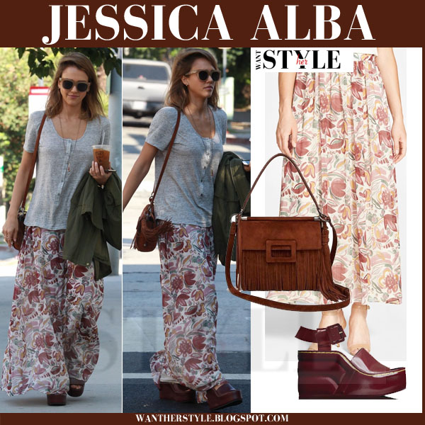 Jessica Alba in floral print maxi skirt two by vince camuto what she wore streetstyle