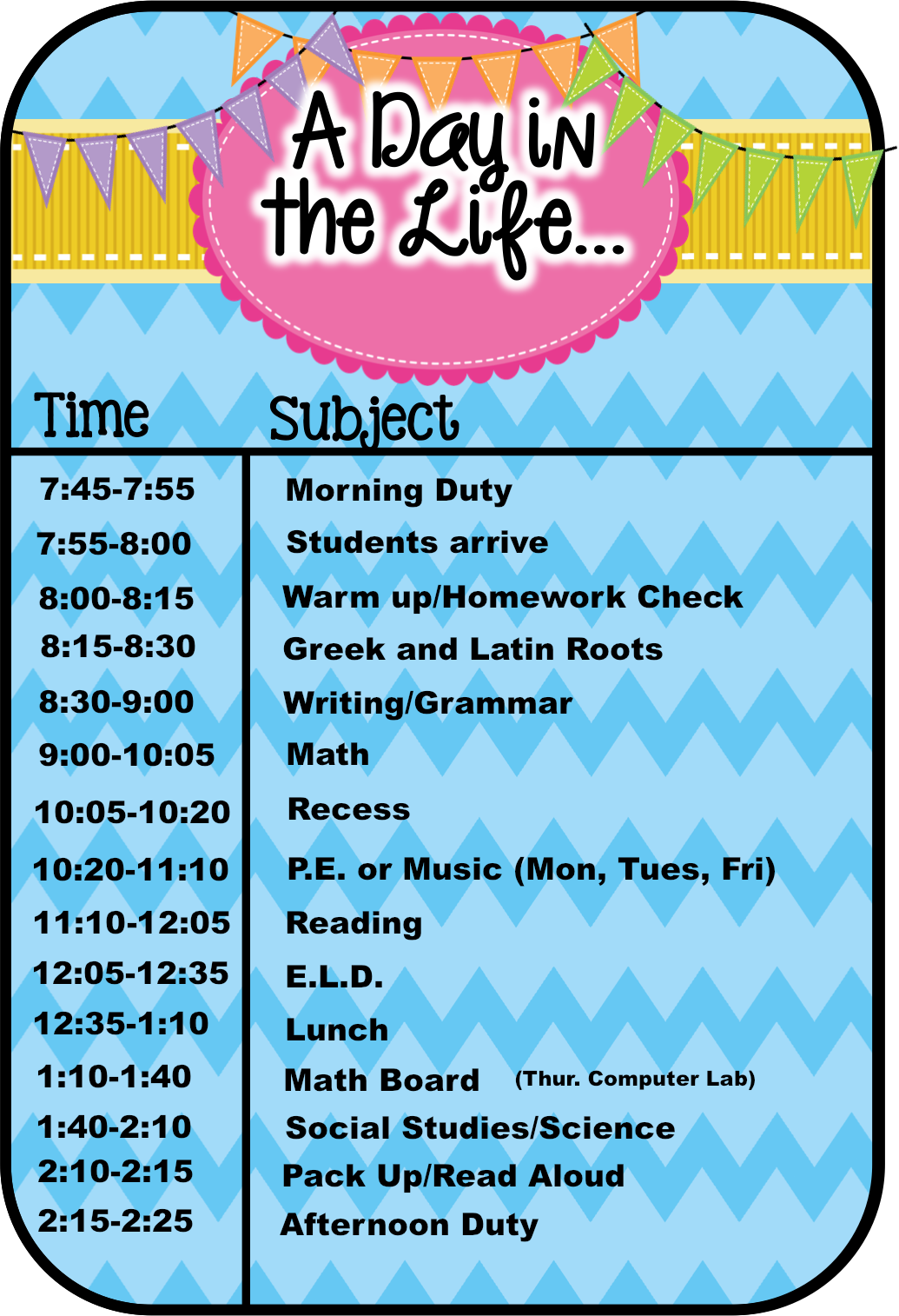 Life in room 24 a day in our life schedule linky