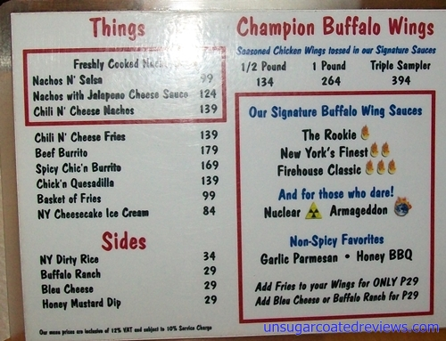 Buffalo's Wings n' Things menu 1