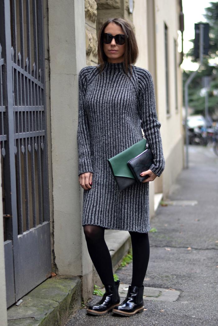 maxi abito maglia grigio