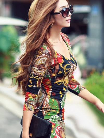China Wholesale Clothes - Vintage Black Artwork Cotton Crewneck 3/4 Length Sleeves Bodycon Dress