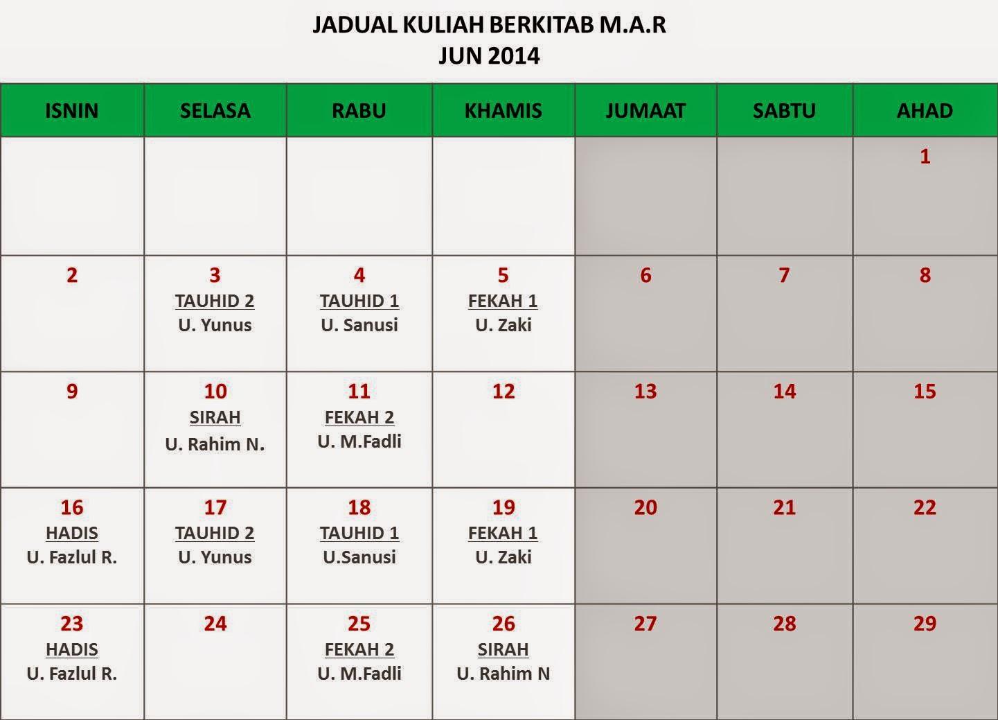 Jadual Bulan Jun