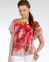 rose tropical style blouse