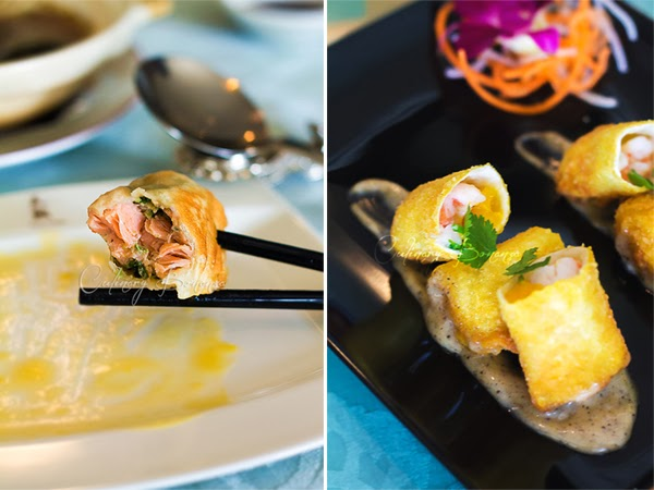 Left: Salmon Wo Tie Right: Crispy Mango Prawn Roll