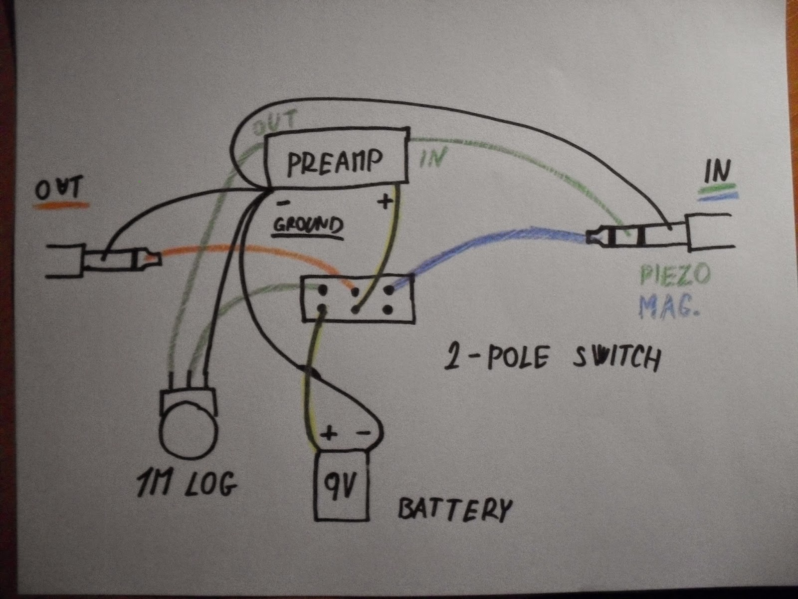 diy electric guitar projects piezo pickup preamplifierpicture 3 final version of the schematic