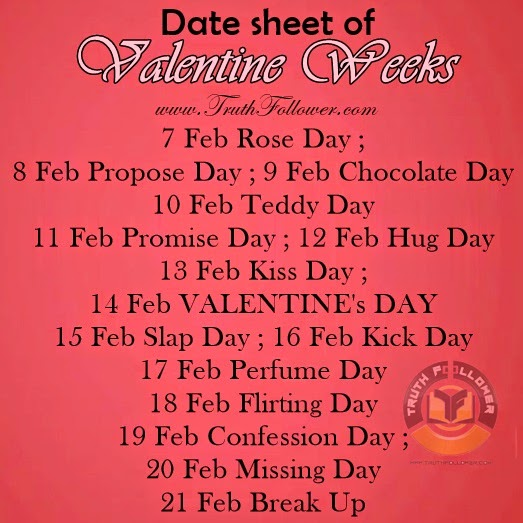 February Valentine Date Sheet Date Sheet of Valentine Weeks