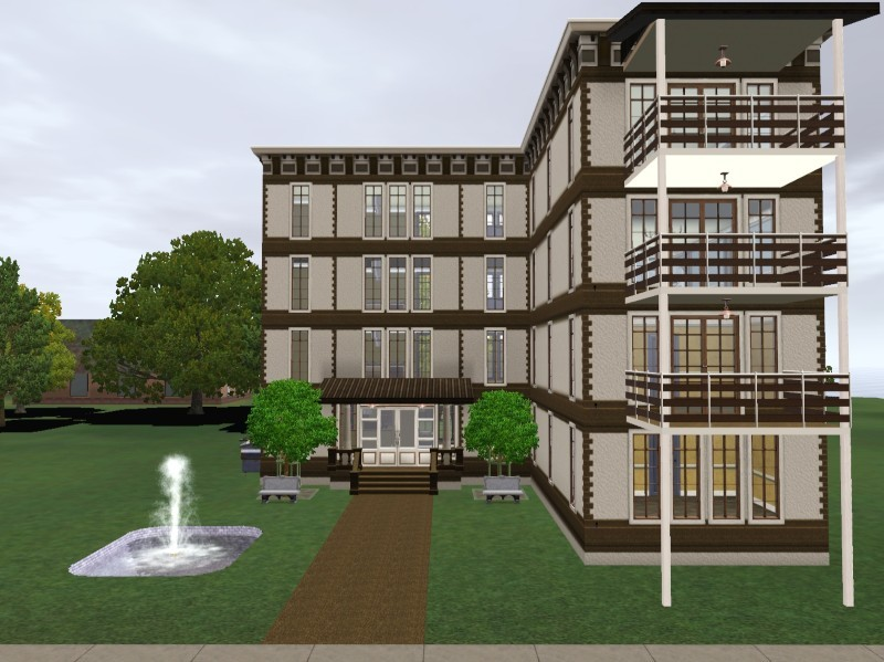 My sims 3 blog 4 unit apartment building unfurnished by for Apartment building plans 4 units