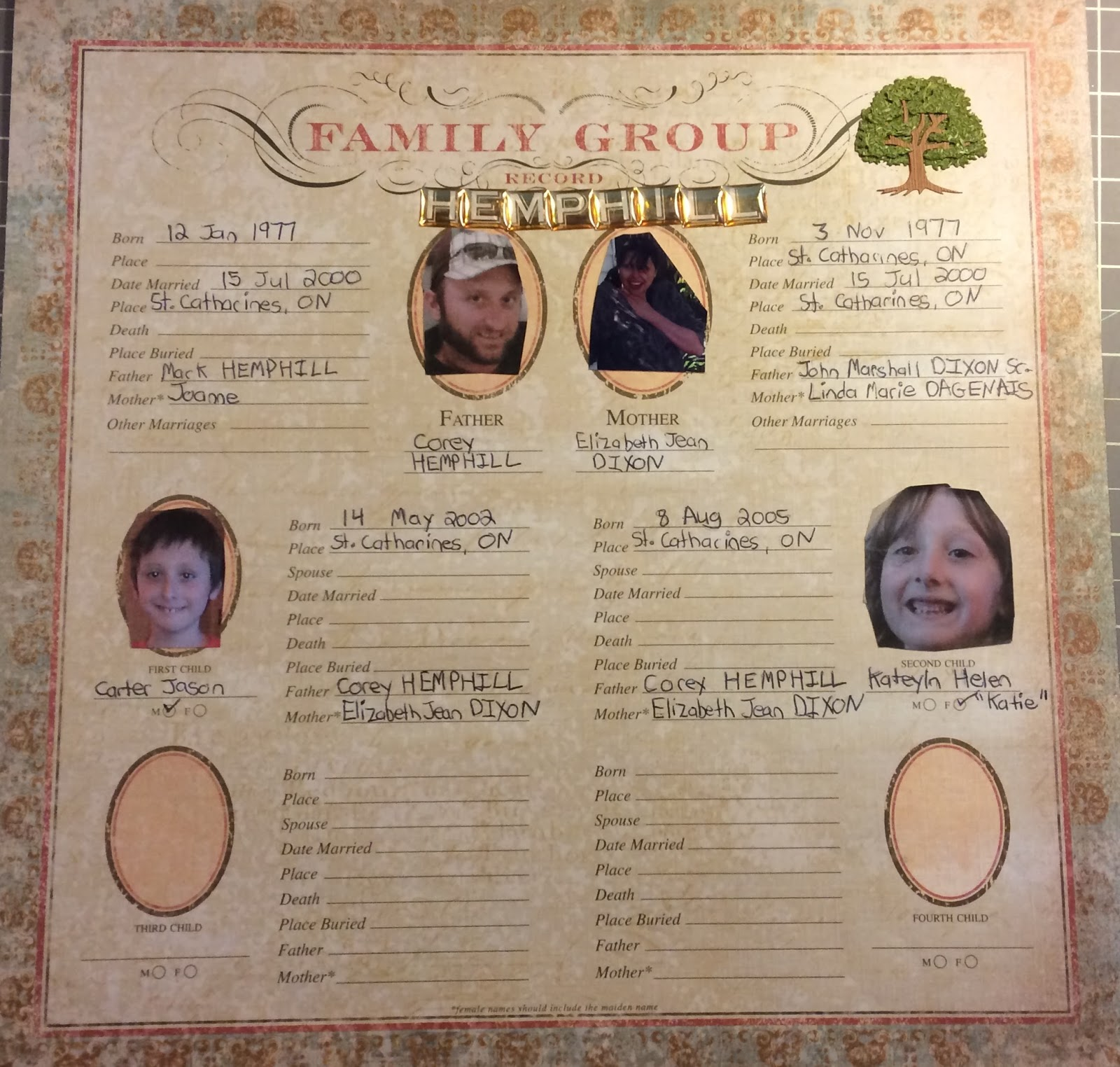 How to scrapbook family tree - Family Group Record 2