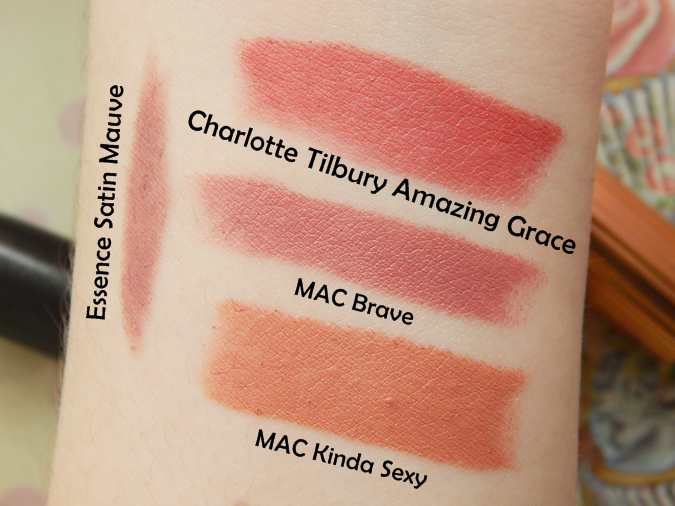 Swatches MAC Brave MAC Kinda Sexy Charlotte Tilbury Amazing Grace Essence Satin Mauve