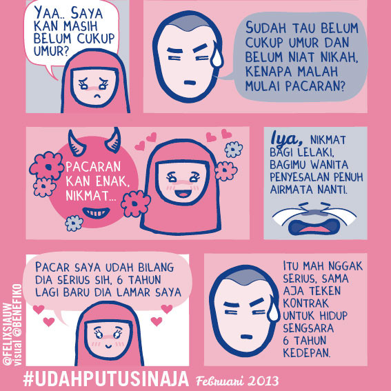 beberapa ilustrasi dari account twitter ilustrator buku 'Udah Putusin