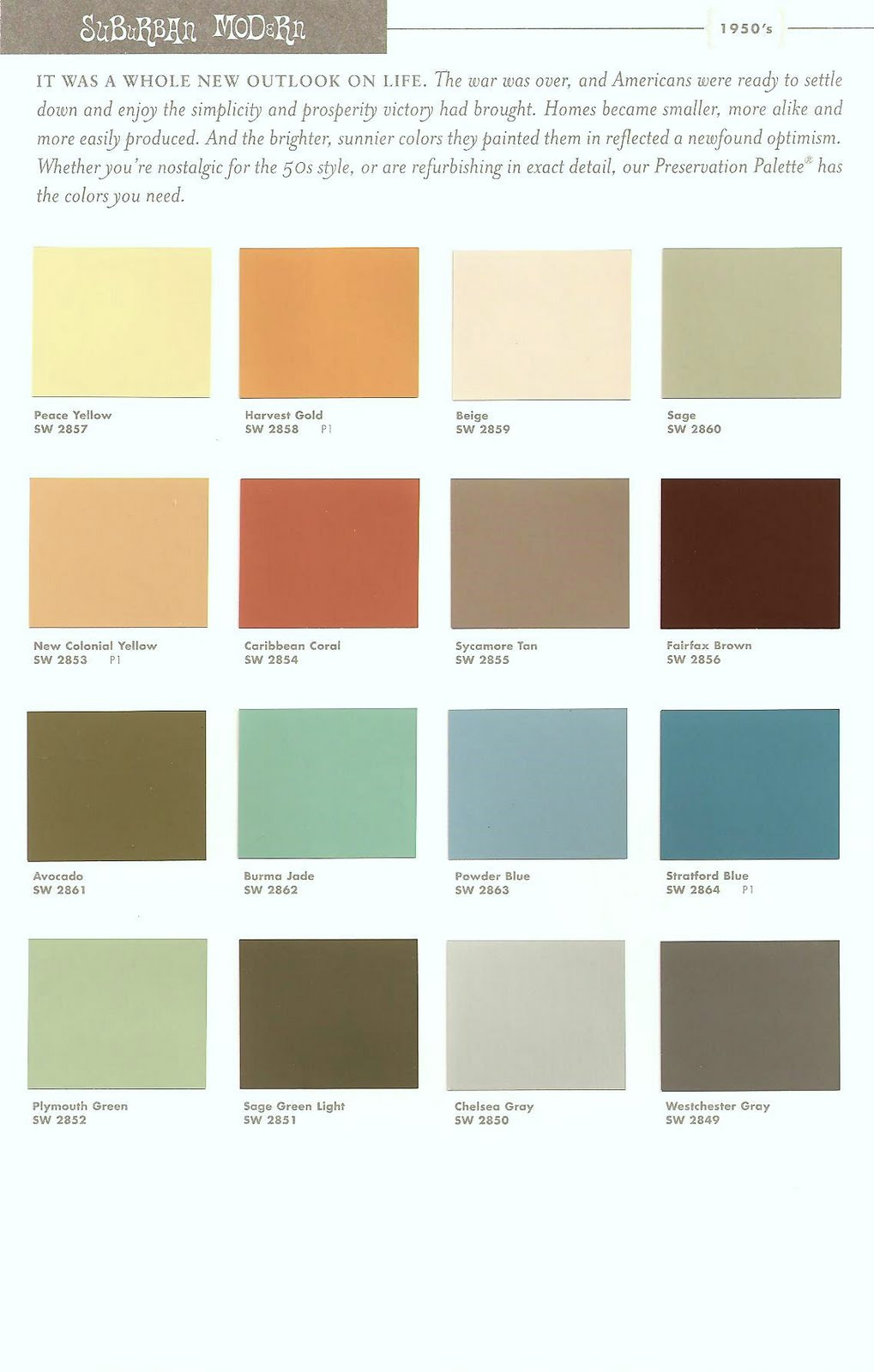 Paradise palms some mid century modern paint colors for Paint color palette