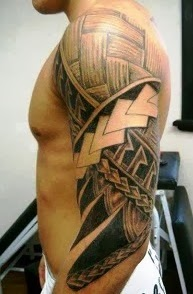 Handsome, tribal half sleeve maori tattoo.
