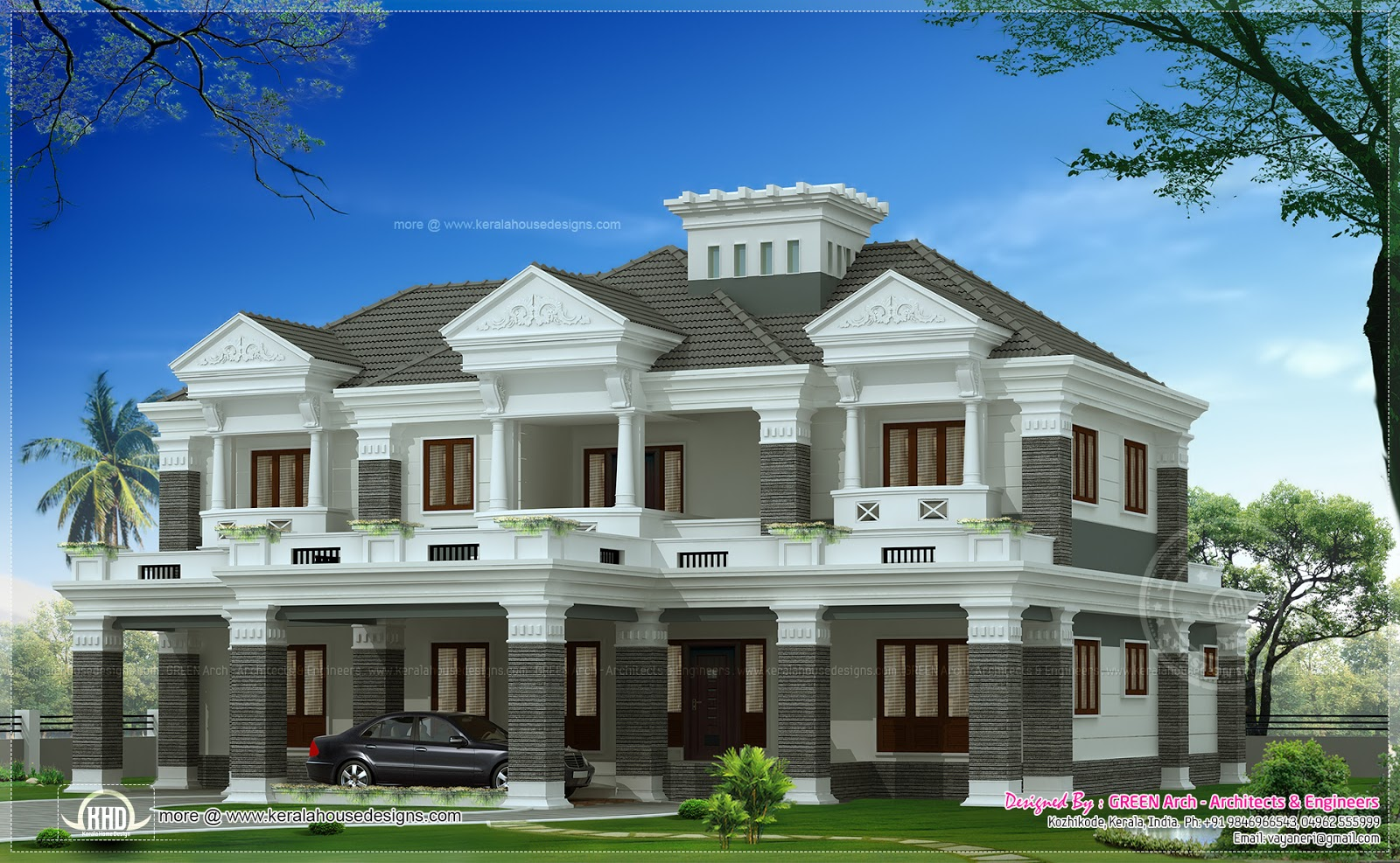 Luxury sloping roof house for Colonial style home design in kerala