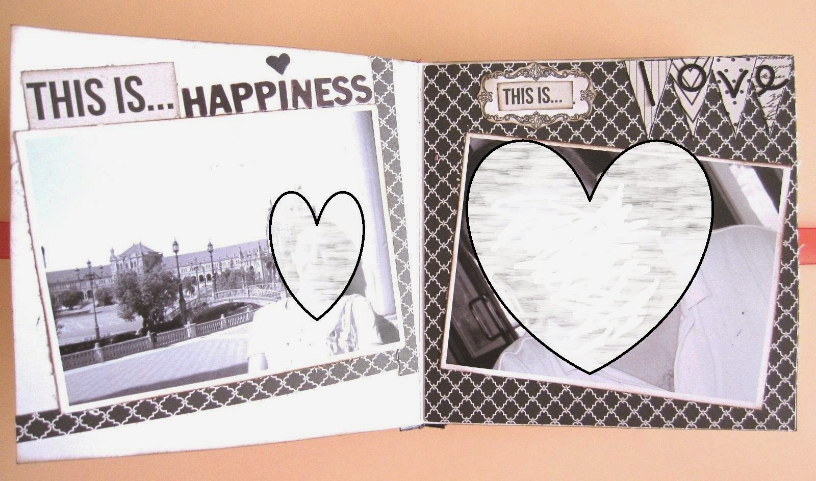 foto 6 decoración interior LOVE mini-album, interior tarjeta LOVE decorada en blanco y negro con mats y banderines