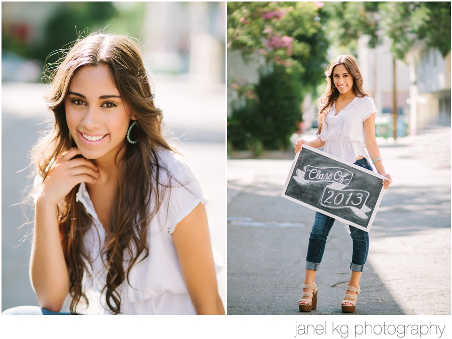 The custom chalkboard is a such a cute idea for Sacramento senior portrait sessions