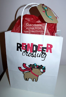 reindeer crossing gift bag