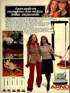 propaganda enceradeiras Arno - 1974.  os anos 70; propaganda na década de 70; Brazil in the 70s, história anos 70; Oswaldo Hernandez;