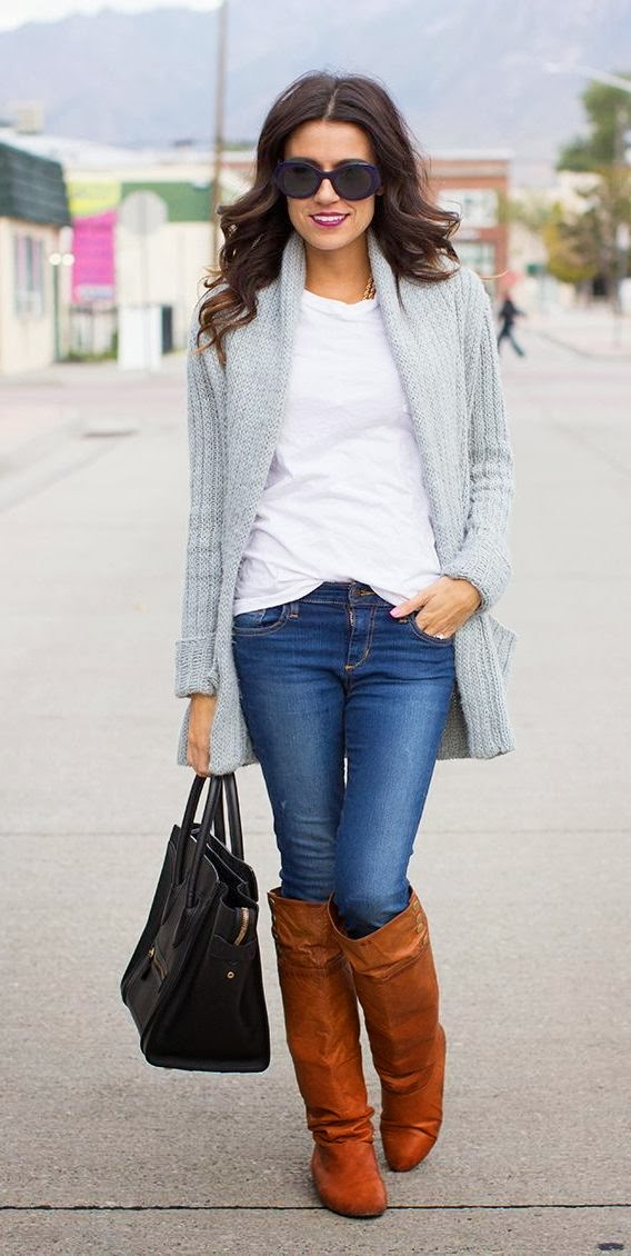Adorable winter look oversized knits cardigan, denim and long boots