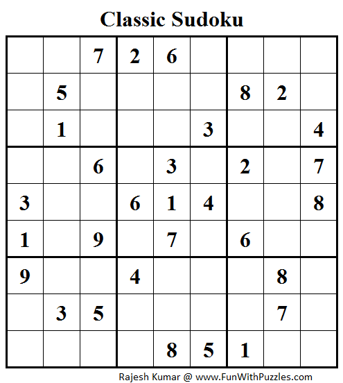 Classic Sudoku (Fun With Sudoku #41)