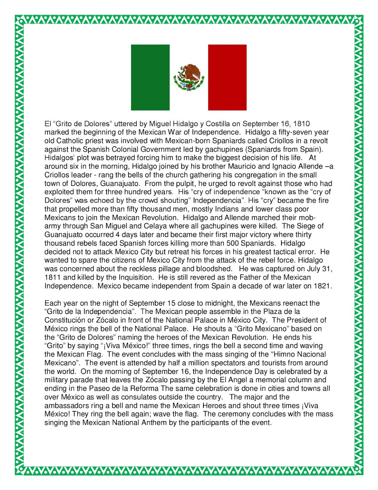 Mexican Independence Day Worksheets - Tecnologialinstante