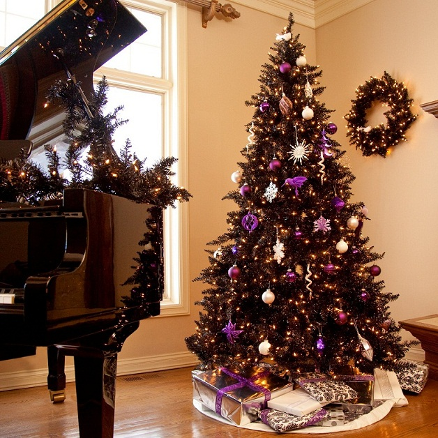 home christmas decoration christmas decoration ideas for black christmas trees - Purple And Silver Christmas Tree Decorations