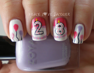 28th Birthday, Nail art, Zoya, Barielle, Stripe Rite, Orly, Avon, Pink, Purple, Lavendar, Lavender, Hot Pink, Cake, Number, Candle