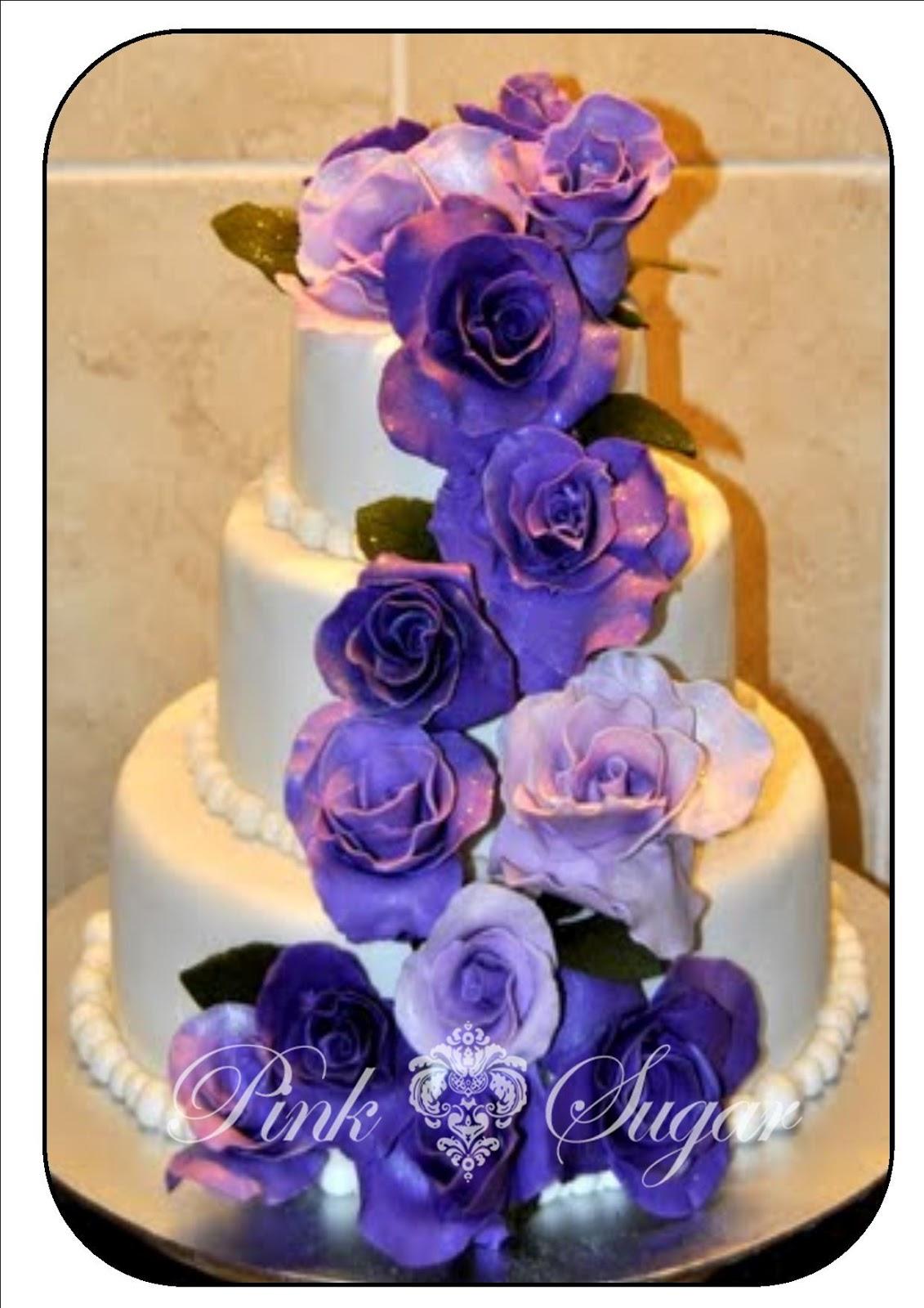 Pink Sugar Purple Rose Wedding Cake